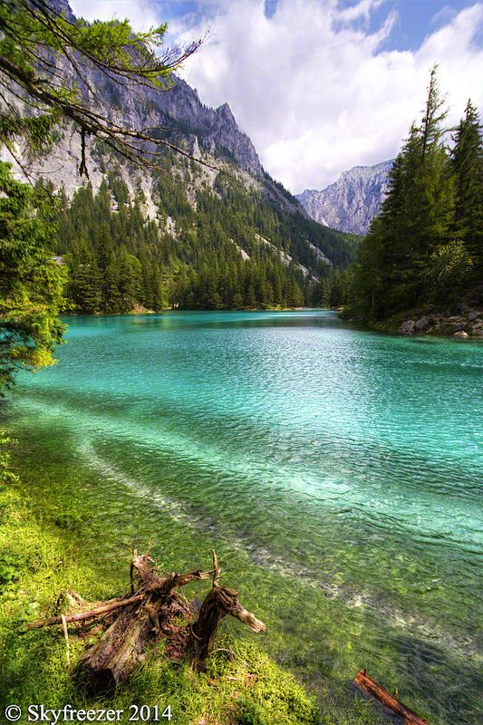 The Green Lake in Styria, Austria with it's emerald green and crystal clear water. This lake was recently voted to the most beautiful place inside Austria. Grüner See, Tragöß, Austria: