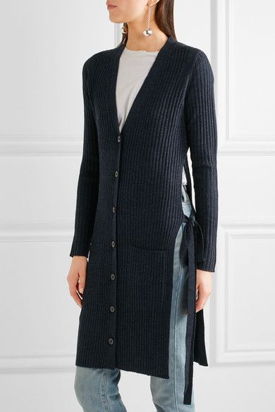 See by Chloé - Side-split Ribbed Wool Cardigan - Storm blue -