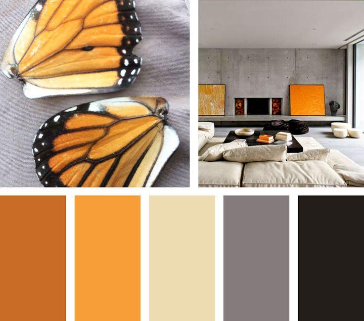 Naranja y negro una combinación de coloresinteresante inspirada en la mariposa monarca.  Espacio Vía:randomitus