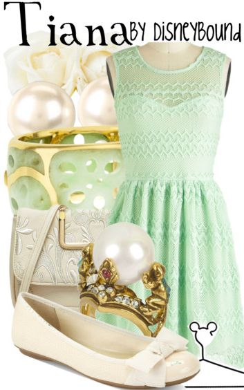 """""""Tiana"""" ~ Disney's The Princess and the Frog inspired this fresh, Spring jade look! Designed by Leslie Kay or also known as the designer of Disneybound outfits. Can be found on Polyvore or her personal shop or  tumblr account."""