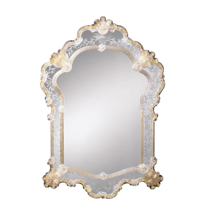 Murano Venetian Mirror With Etched Glass