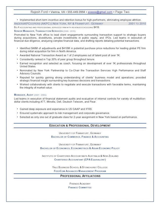 Chief Financial Officer Resume Sample – Senior Finance Executive Page 2