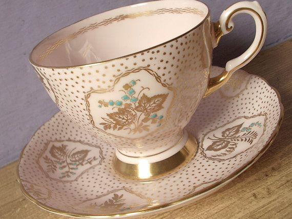 Antique 1940s pink tea cup set, vintage Tuscan English tea set, pink and gold bone china tea cup and saucer. via Etsy