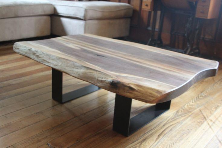 Modern live edge coffee table black walnut salvaged wood metal legs