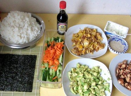 Zutaten für vegetarisches Sushi