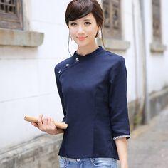 Nice Dark Blue Flax Cheongsam Style Shirt - Chinese Shirts & Blouses - Women