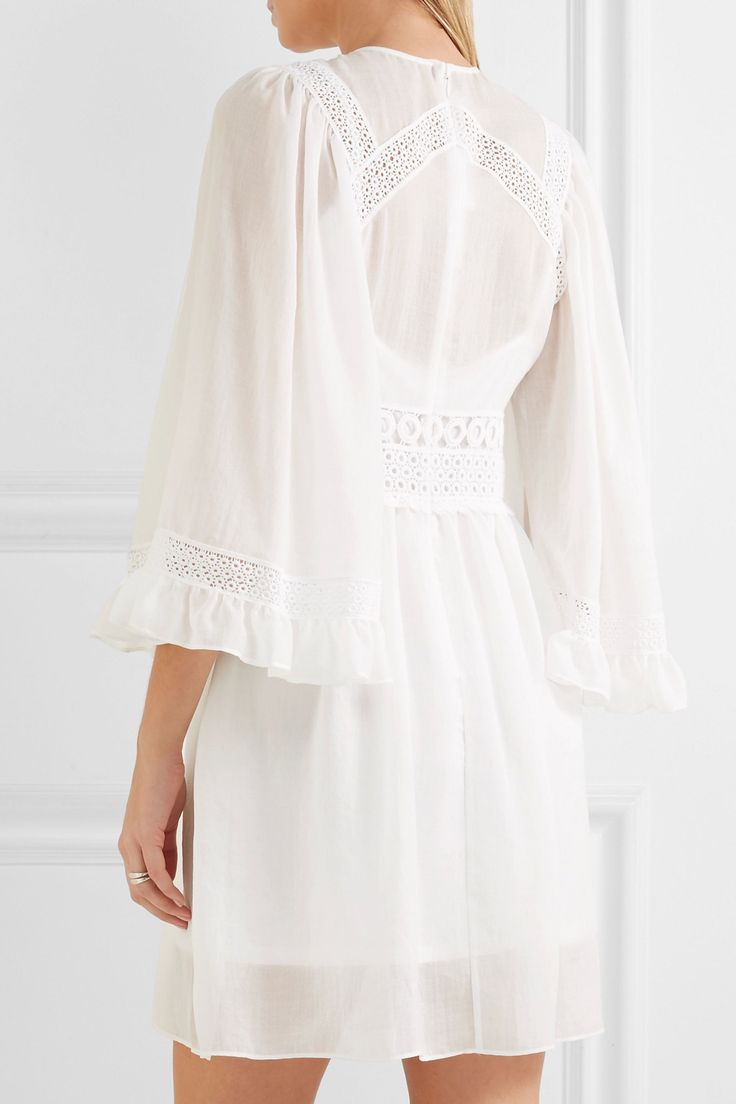 Guipure lace-trimmed gauze mini dress   McQ Alexander McQueen   Sale up to 70% off   THE OUTNET
