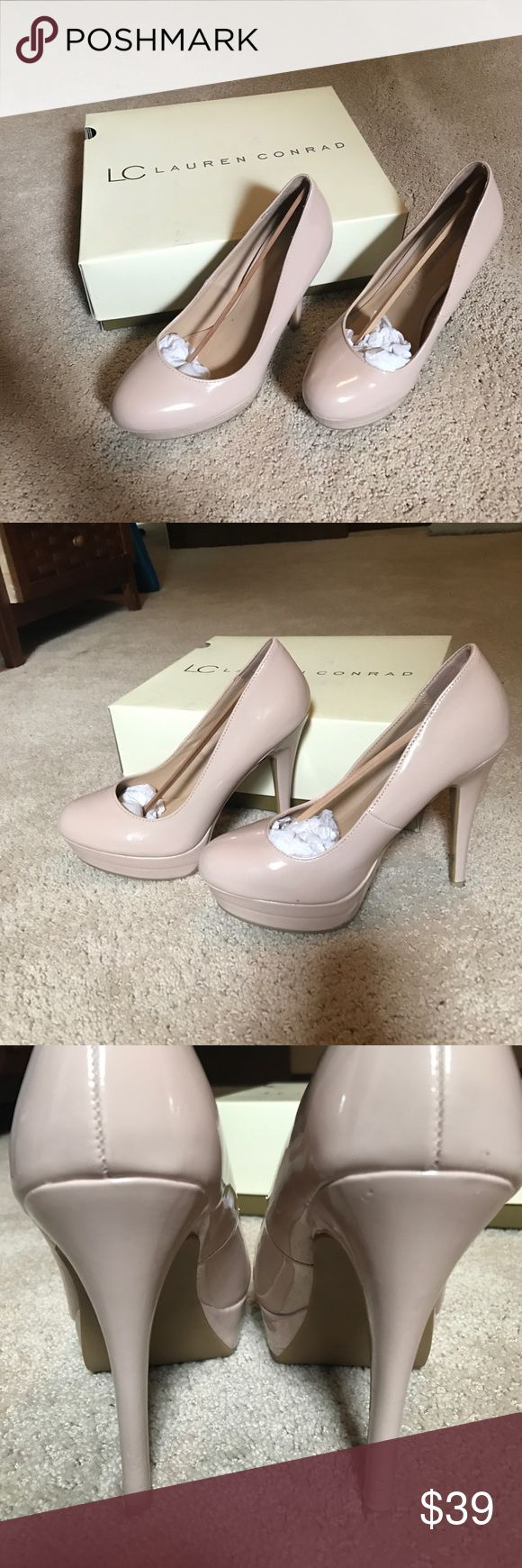 """5.5"""" Lauren Conrad Nude Heels 5.5 inch lauren conrad nude/pink heels! Worn once only, for pictures, so in perfect condition aside from a half centimeter scuff on the back of the right heel. Bottoms are mark free. I can send with the box if you'd like! Offers welcome!! LC Lauren Conrad Shoes Heels"""