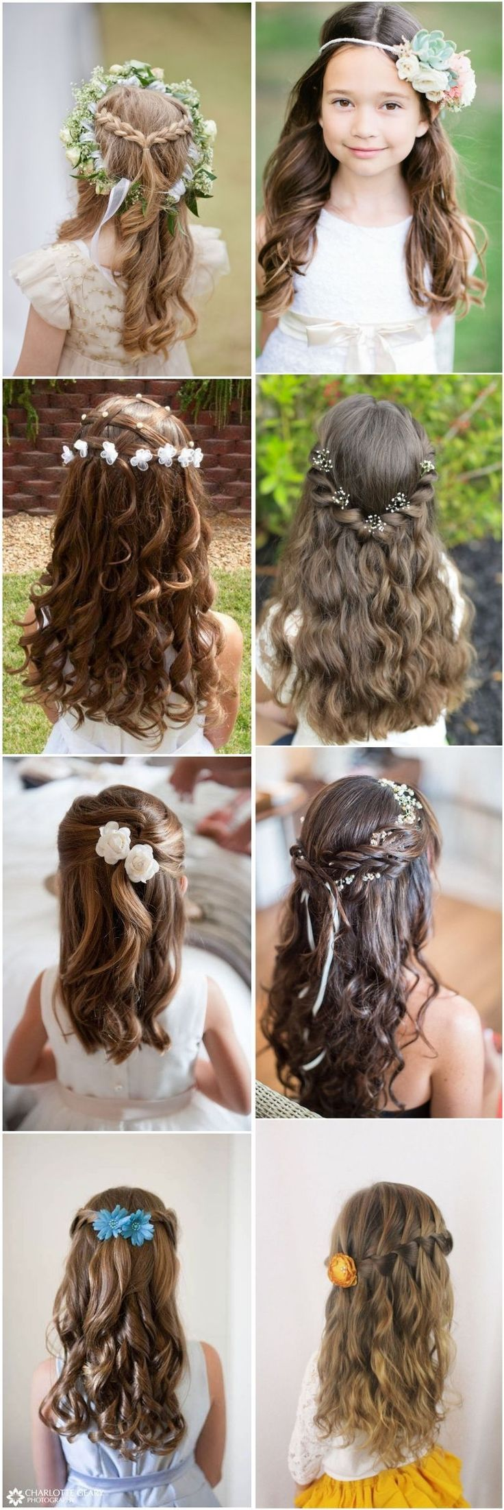 cute little girl hairstyles-updos, braids, waterfall / http://www.deerpearlflowers.com/super-cute-little-girl-hairstyles-for-wedding/ #girlhairstyleseasy