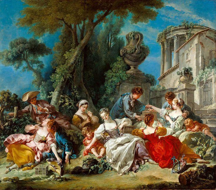 The Bird Catchers - Francois Boucher, 1748.  Art Experience NYC  www.artexperiencenyc.com/social_login/?utm_source=pinterest_medium=pins_content=pinterest_pins_campaign=pinterest_initial