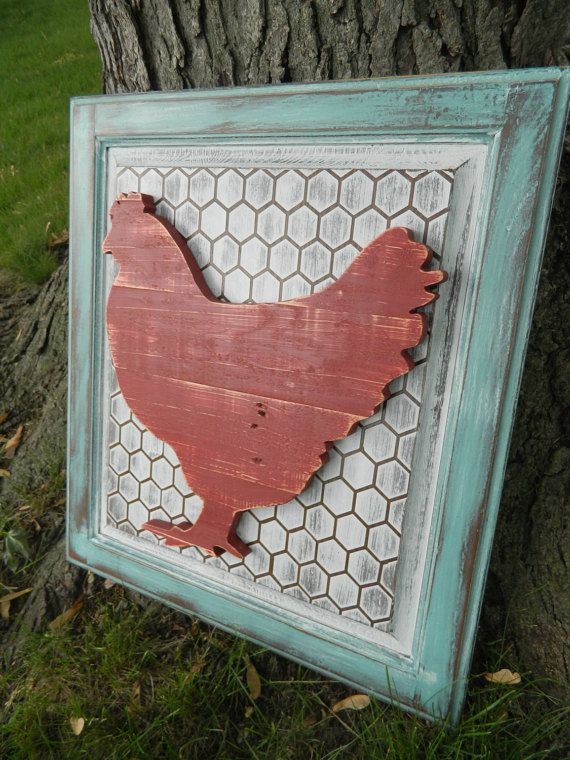Kitchen Wall Hanging~ Chicken Coop Rooster Art~ 20x22~ Upcycled Cabinet Door~ Country Shabby Chic Rustic