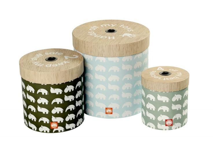 Ronde opbergdozen set van 3 - Blauw | Done by Deer | Storage Kidsroom