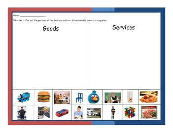 This worksheet requires the students to cut and paste the pictures at the bottom and sort them based on if they are a good or a service. We used this as independent practice.