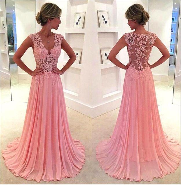Vestido de Festa Longo KSD554 Novo Vestido De Noite Longo 2016 a linha de Praia Vestido Com Decote Em V vestido de Noite do baile de Finalistas Chiffion Rosa Longo vestido de Noite vestido