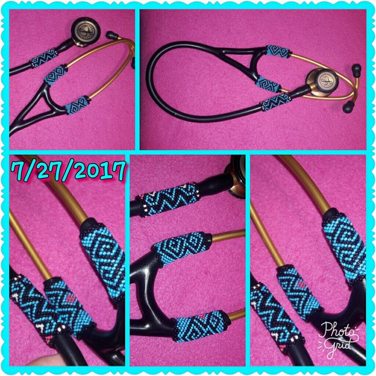 Peyote stitch Stethoscope... 1 1/2 inch pieces in length on top and bottom piece is 2 inches in length,  30 beads round for top and bottom pieces.. Turquoise Blue and Black with accent colors on top and bottom pieces.  Beaded for my nephew..