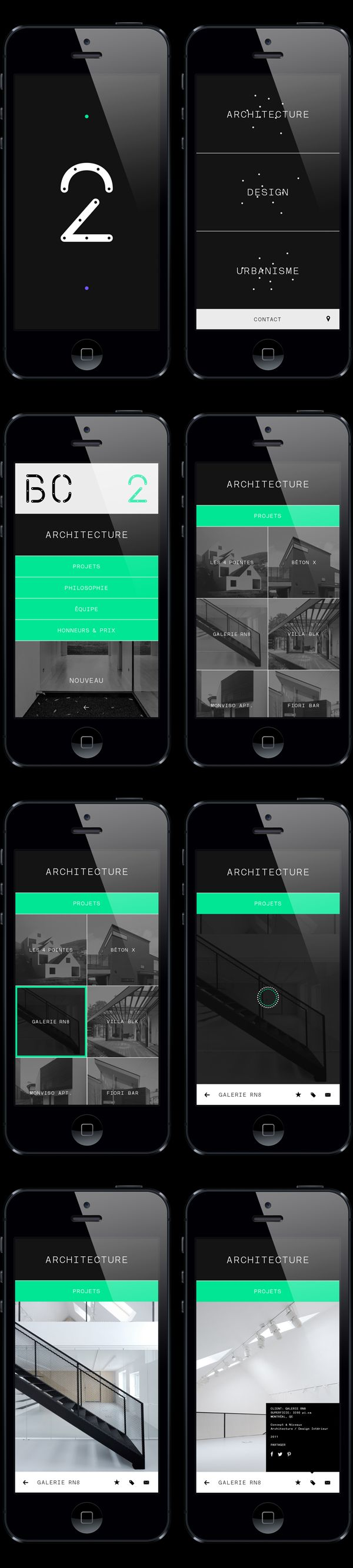 BC2 Architecture Portfolio Mobile Website Design | Clean UI Design | #design #web #mobile #ui #ux #inspiration