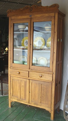 Antique 1880s Victorian Pie Food Safe Tall Cupboard W
