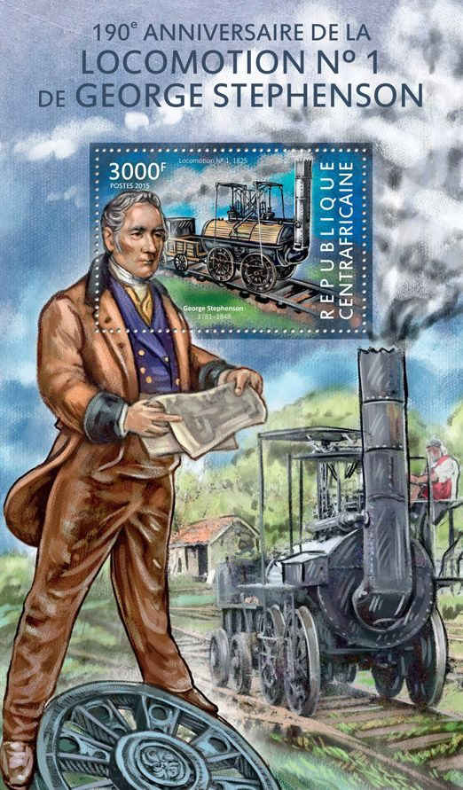 Post stamp Central African Republic CA 15115 b190th anniversary of the locomotion No. 1 by George Stephenson (George Stephenson (1781-1848), Locomotion No. 1, 1825)