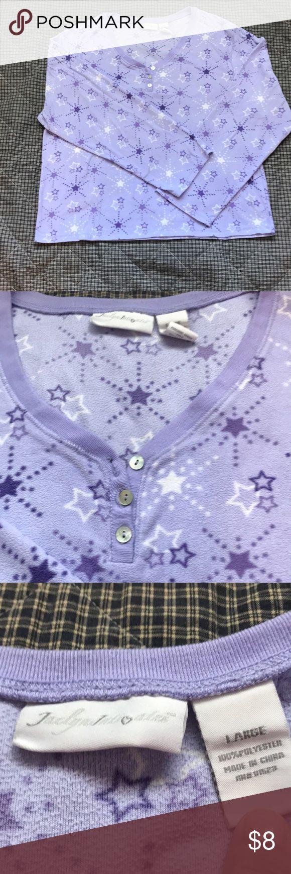 Fleece pajama top Super soft fleece pajama top, purple with stars. EUC Jaclyn Intimates Intimates & Sleepwear Pajamas