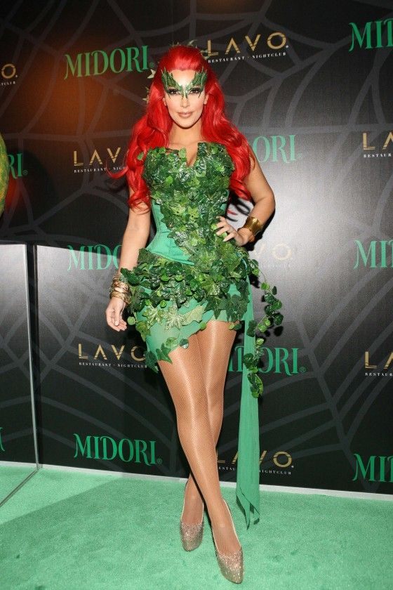 kim kardashian 2011 midori green halloween party poison ivy - Green Halloween Dress