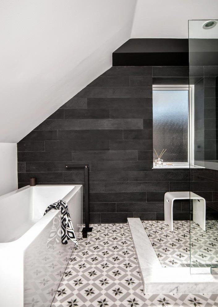 attic bath - modern tub, patterned tiles and reclaimed wood accent wall
