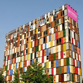 Image shows Choi Jeong-Hwa design to make a dull building in Seoul more interesting by using 1000 different door panels to surround the building. This is a great use of using unwanted materials to create unique and interesting structures.  More: http://choijeonghwa.com/