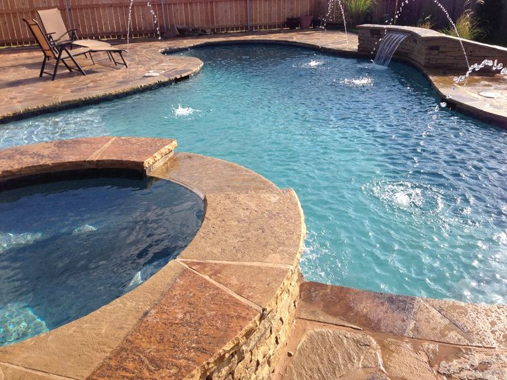 Natural Stone Pool With Spa Waterfall And Deck Jets