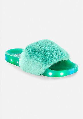 10483cc75d0b Light Up Faux Fur Slide Sandals