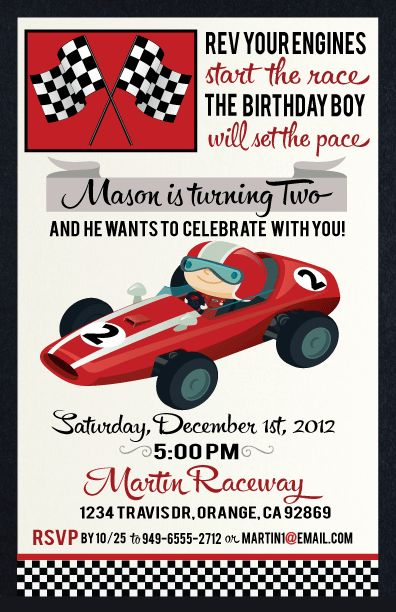 Vintage Race Car Birthday Party Invitation Inspiration.