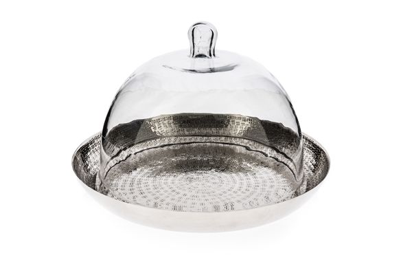 Casa Uno Aluminum Nickel Plated Kitchen Tray with Glass Dome - NEW