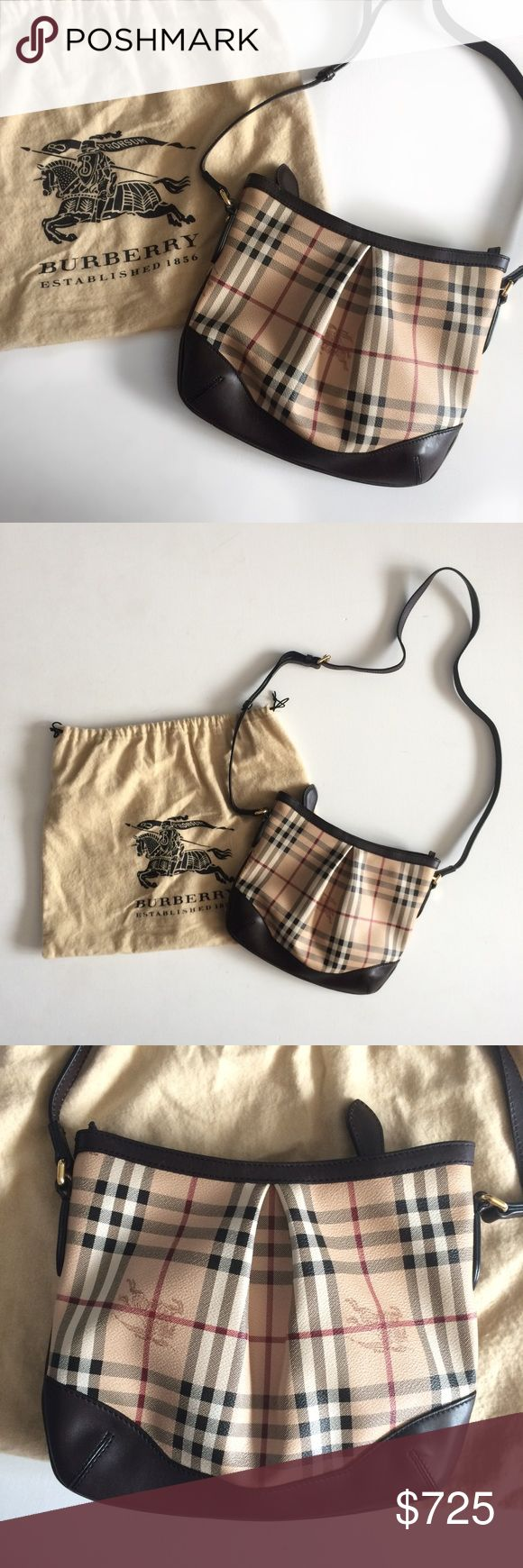 """Burberry Haymarket Check Crossbody Bag Authentic Burberry Haymarket Check Crossbody Bag with Case. Number ITTIVGRO58CAL. Selling for my Aunt, purchased in Italy. Worn only a handful of times. Very few marks around trim and strap needs to be worn in for rounder shape. Strap is adjustable.Calfskin trim. Please see all photos. Width is about 11.5""""in and length is about 9.5""""in Burberry Bags Crossbody Bags"""