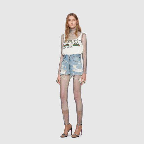 Crystal net legging - Gucci Women's Pants & Shorts 492725ZJE511029