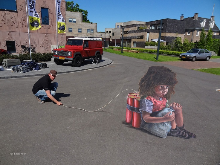 4D street art at Twente Biennale 2013.  3D street art combined with Augmented Reality.  3d street painting by Leon Keer, 3d animation by Joost Spek.  On show at Museumlaan Enschede from May 23 until June 9.