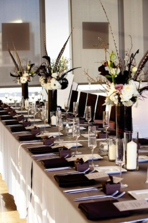 17 best images about ordination reception ideas on for Black and white reception tables