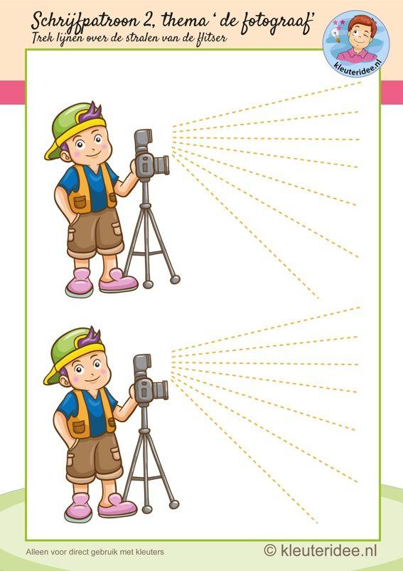 Schrijfpatroon bij thema 'de fotograaf' voor kleuters, flitser, kleuteridee.nl, free printable writing pattern photographer theme.