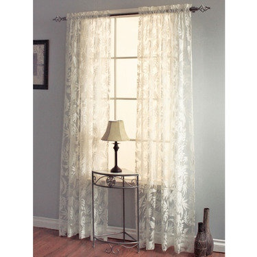 tropical leaves burnout sheer curtain panels - Sheer Curtain Panels