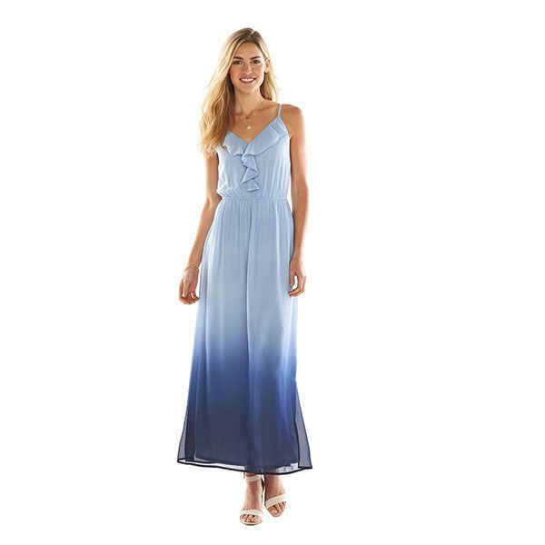 LC Lauren Conrad Ruffle Dip-Dyed Maxi Dress