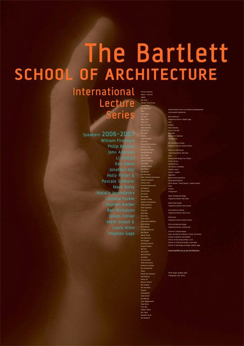 Image by Marc Atkins. Poster. Client The Bartlett School of Architecture. Design by Vaughan Oliver at v23.