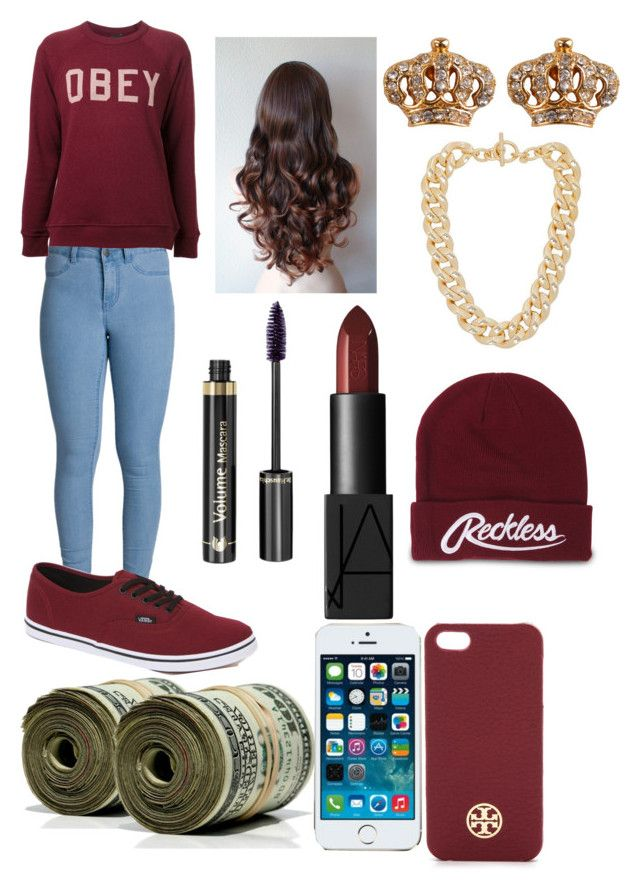 """""""Untitled #69"""" by qveen-nenee ❤ liked on Polyvore featuring Pieces, OBEY Clothing, Vans, Dr.Hauschka, NARS Cosmetics, Juicy Couture, Michael Kors, Young & Reckless and Tory Burch"""