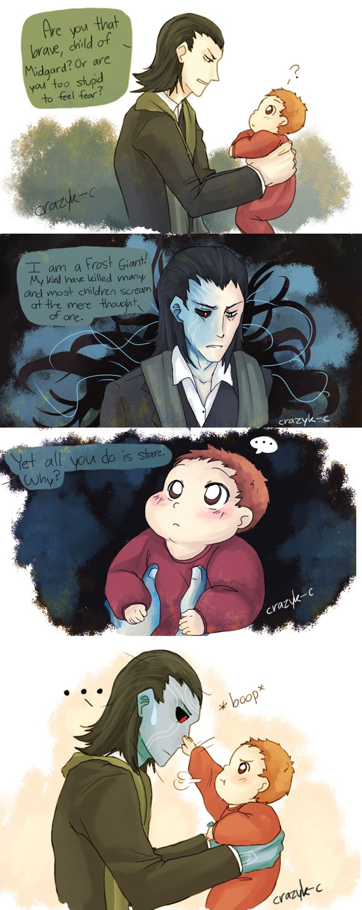 Loki and baby Peter Parker.