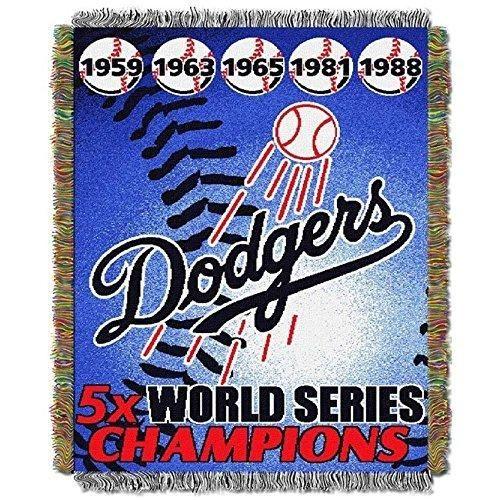 48 X 60 MLB Dodgers Throw Blanket Baseball Themed Bedding Sports Patterned Team Logo Fan Merchandise Athletic Team Spirit Fan Ballpark Woven Tapestry Fringed Soft Blue White Polyester