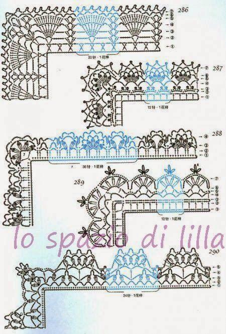 lo spazio di lilla: Schemi di bordi crochet con angoli, utili per copertine e…