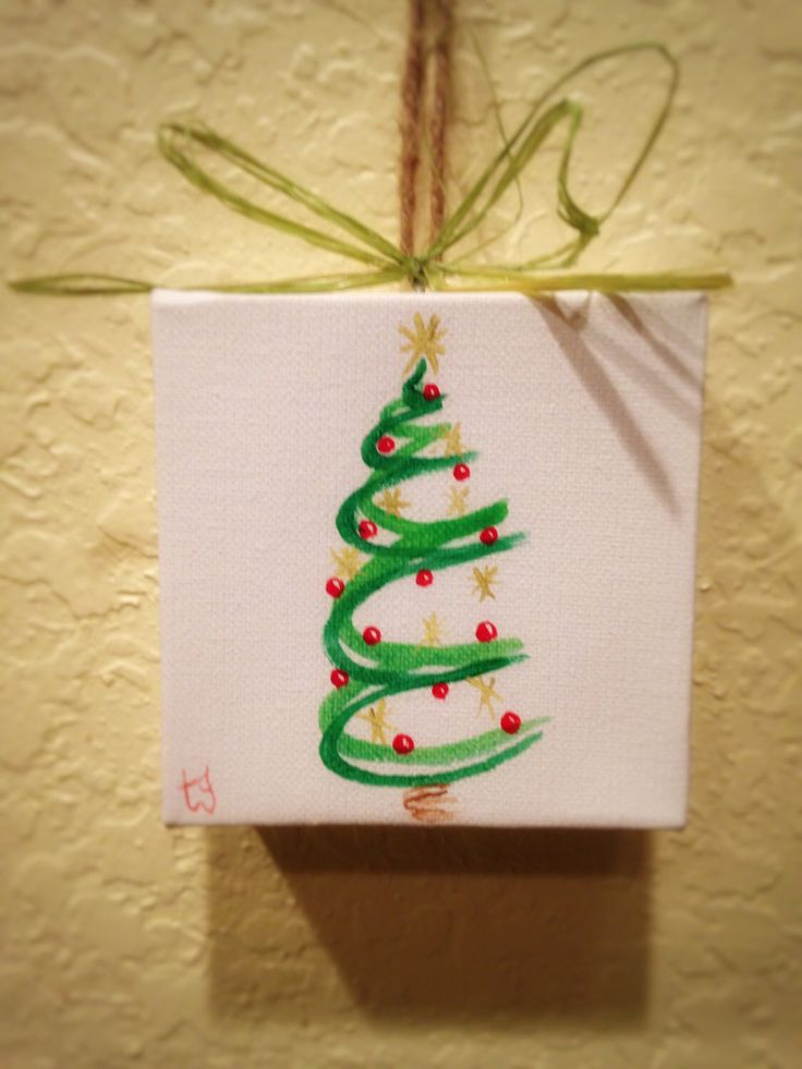 Christmas Tress Painted on Canvas Wall Hanging/Ornament by tglesscreations on Etsy https://www.etsy.com/listing/254686411/christmas-tress-painted-on-canvas-wall