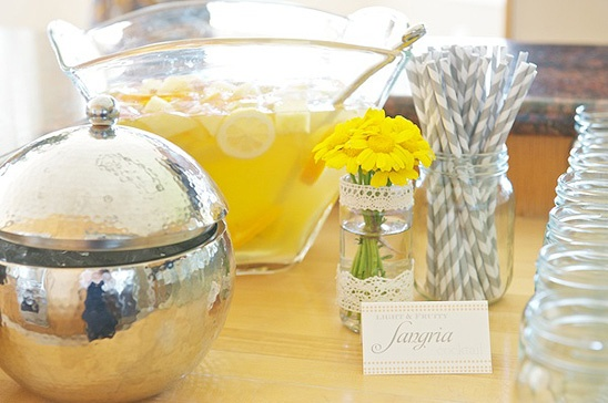 Yellow Baby Shower...we could get gray and white straws for the lemonade?