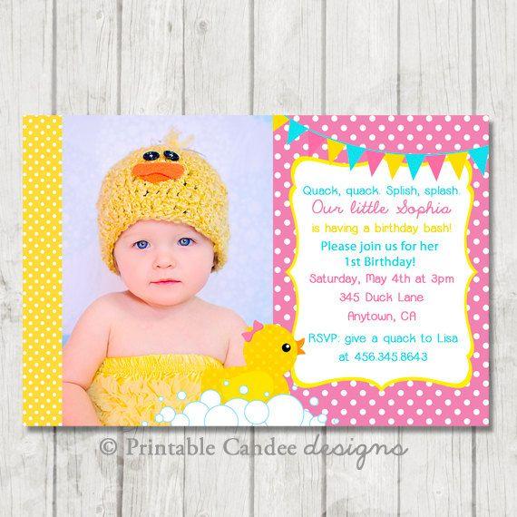 Duck birthday invitations girl rubber duck birthday invitation summer birthday filmwisefo