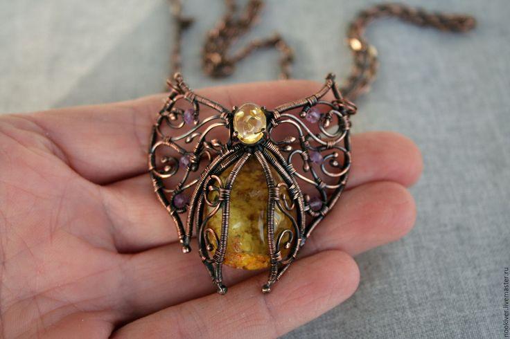 Купить Кулон бабочка wire wrap - желтый, кулон, кулон с камнем, желтый кулон