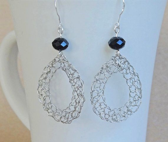Silver crochet wire earrings with black beads.Hand by ByDrora