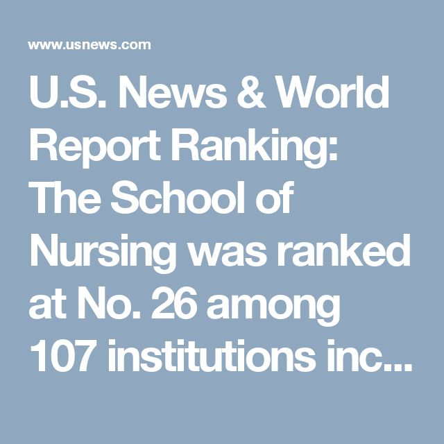 U.S. News & World Report Ranking: The School of Nursing was ranked at No. 26 among 107 institutions included in the Best Online Graduate Nursing Programs category. This is the fifth consecutive year that the nursing school was ranked by U.S. News, and the fourth consecutive year it was named among the Top 30. http://www.usnews.com/education/online-education/nursing/rankings