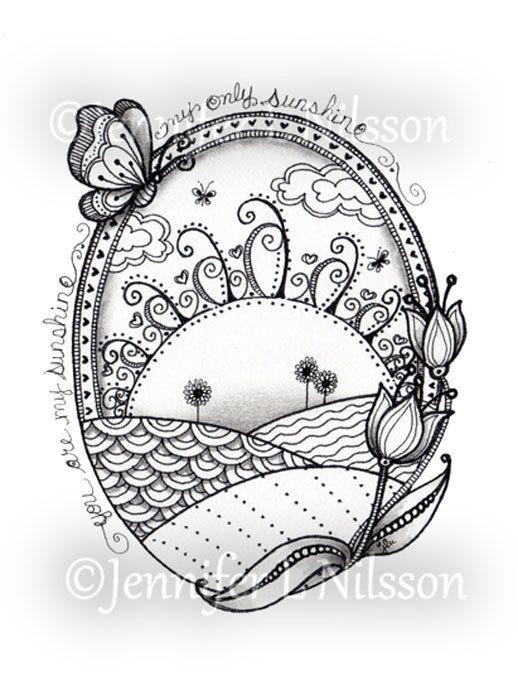 Sunshine Fields Original ink and graphite Zentangle by JLNilsson, $20.00