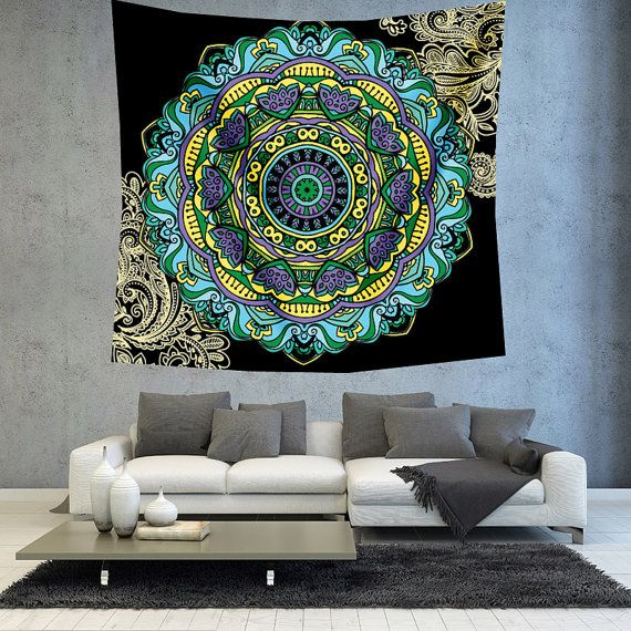 Turquoise Mandala tapestry hippie tapestry by Christinedecorshop